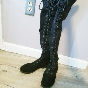 Shoes - Lace up knee high boots